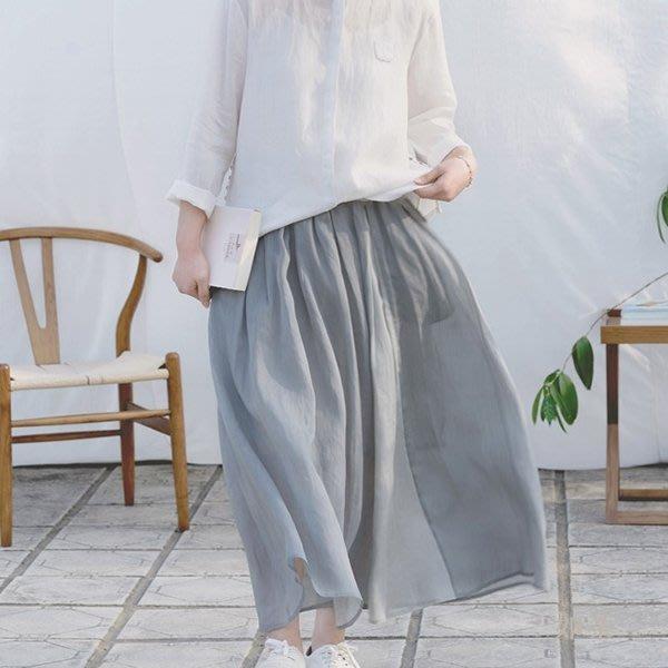 【如茶】透氣清涼優質雙層細苧麻素雅鬆緊腰半身長裙-灰色 咖色