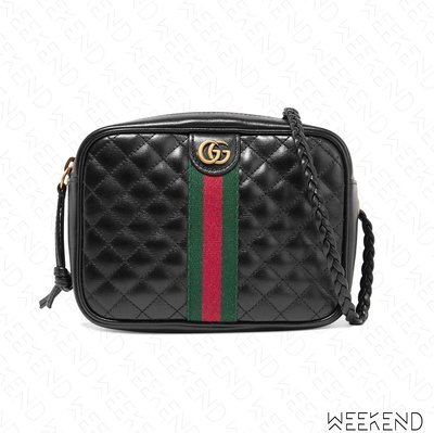 【WEEKEND】 GUCCI Quilted Mini 迷你 壓紋 皮革 編織背帶 肩背包 黑色 536441