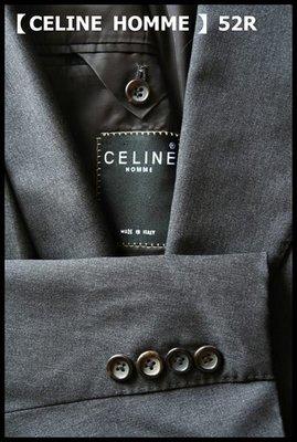 【CELINE HOMME】頂級系列100% WOOL深鐵灰雙排扣牛角扣成套西裝(歐碼52西裝+54長褲)