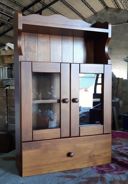 美生活館 鄉村傢俱訂製 紐西蘭松木全原木  深古銅色 雙門一抽壁櫃 收納櫃 桌上櫃 馬克杯架 壁架 收納櫃 也可修改尺寸