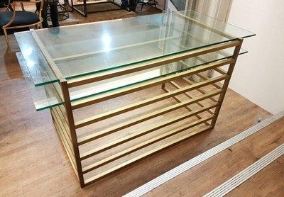 彰化二手貨中心(原線東路二手貨 )-- 時尚高質感金銅框設計辦公桌
