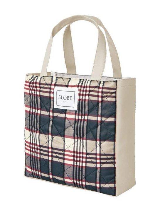 [瑞絲小舖]~日雜附錄SLOBE IENA格紋托特包 手提包 手提袋 格紋包 便當袋 午餐袋