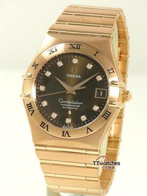 台北腕錶 Omega 歐米茄 Constellation 36mm 星座 自動 玫瑰金 鑽錶 118101