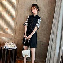 ❤公主的著衣❤夏季新款~氣質格子拼接高腰襯衫連身裙