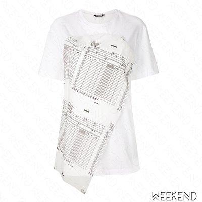 【WEEKEND】 MOOHONG 拼接 特殊設計 短袖 T恤 上衣 白色