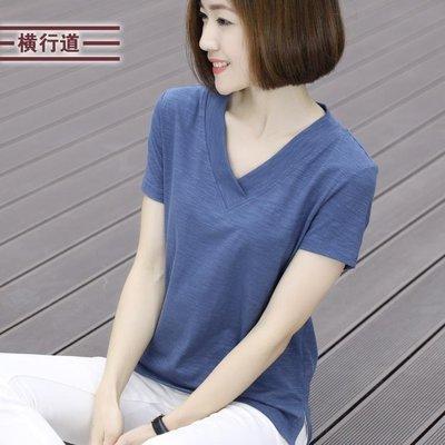 2019夏裝純色竹節棉半袖打底衫寬鬆v領短袖t恤女士上衣服夏季女裝
