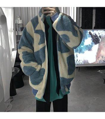 大東春季男裝新款短句先生2021年新款藍色羊羔絨外套男復古加絨加厚棉衣寬松