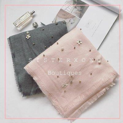 Sis KOREA style  韓系 名媛風 韓國甜美優雅羊絨 花朵釘珠設計感 寬大保暖圍巾 日本優雅氣質簡約披肩