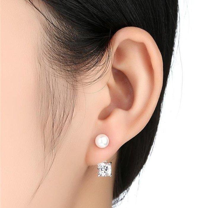日韩時尚不對櫬女用925纯銀防過敏水鑽耳環女防過敏生日禮物情人節禮物