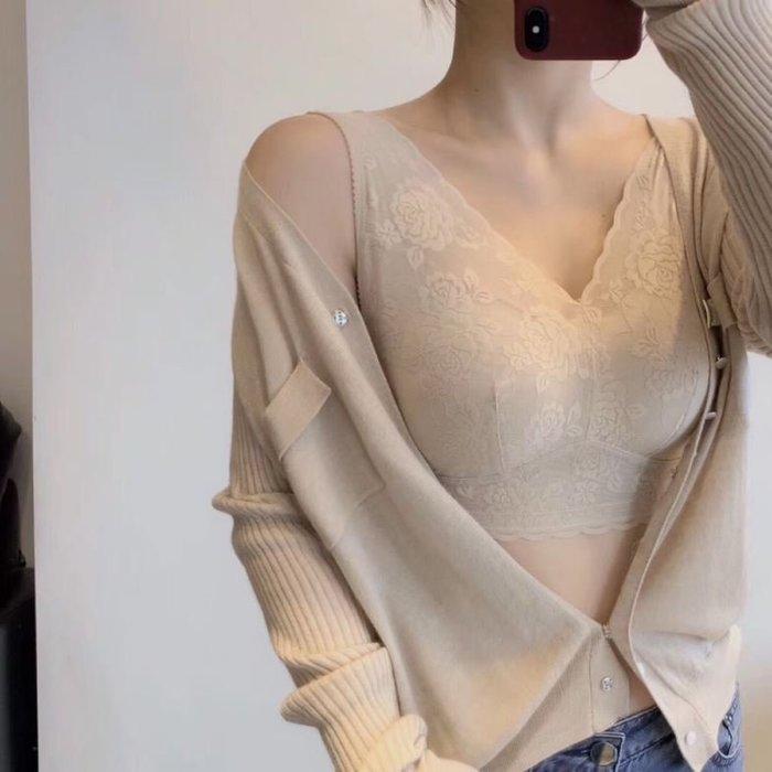 日本原單~大尺碼超美花邊V領無痕舒適背心式內衣 (70B~85D、90B) 1187   米蘭風情