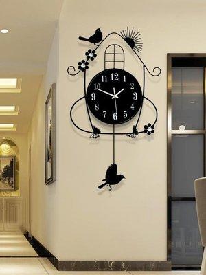 掛鐘鐘錶掛鐘客廳創意簡約歐式現代田園時鐘掛錶臥室靜音夜光石英鐘大SUN