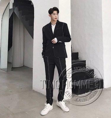 《TINO HOMME》2019春夏新款日韓版非主流翻領明車線一粒扣繫帶修身西裝套裝外套休閒褲-黑色款套裝