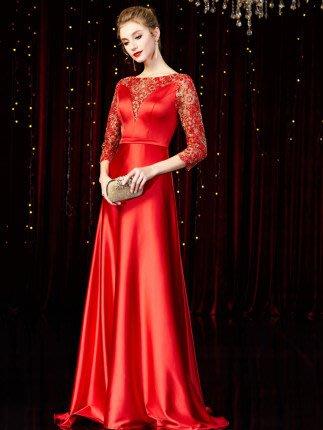 妞妞 婚紗禮服~紅色藍色婆婆媽媽主婚人新娘敬酒長禮服~3件免郵