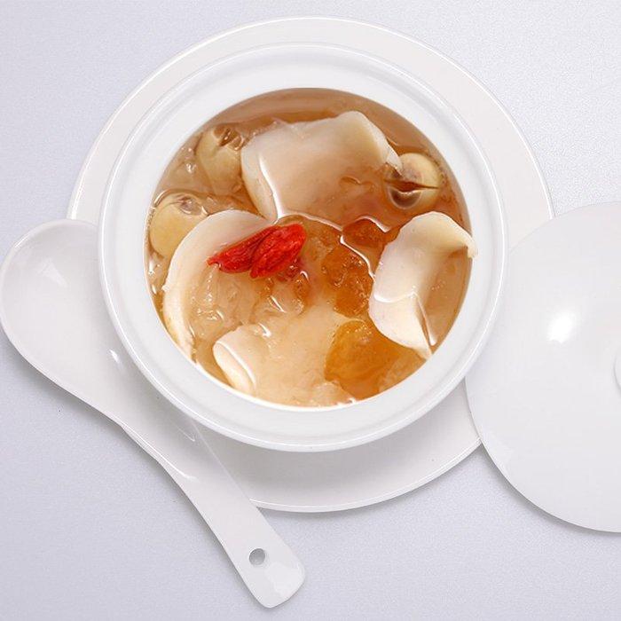 陶瓷隔水沙縣燉盅純白蒸蛋碗中式家用帶蓋湯盅燉燕窩甜品盅(3.5吋/不含盤子)_☆找好物FINDGOODS☆