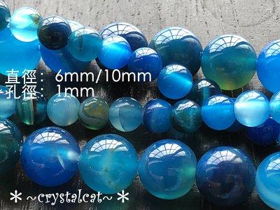 *~水晶貓~全場批發價~*瑪瑙條紋石圓珠串珠材料(藍色)6mm,單顆