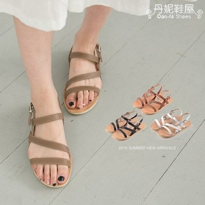 涼鞋 夏日度假風百搭線條環帶羅馬真皮平底涼鞋 台灣製造手工鞋 丹妮鞋屋