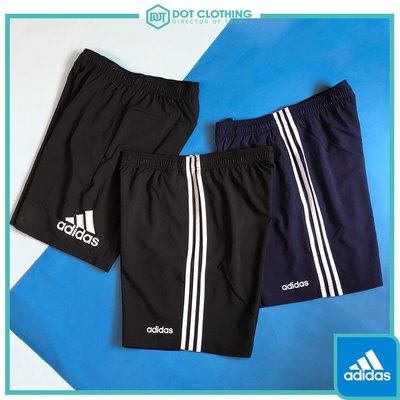 DOT聚點 adidas LOGO 男款 三線褲 短褲 防風 輕薄款 黑 DQ3073 藍 DU0501 黑DV1029
