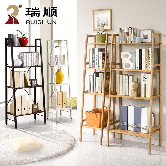 實木書架置物架簡約落地隔板書柜鐵藝架子多功能日式儲物架展示架