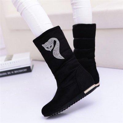 ~Linda~冬季新款 女鞋韓版潮百搭棉鞋子 加絨保暖中筒平底水鑽雪地靴