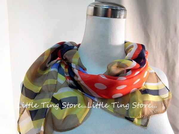 Little Ting Store幾何線條紅底水玉點點中方巾可 .絲巾.圍巾.披肩.頭巾.