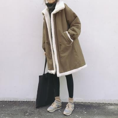 反季棉衣女中長款冬裝羊羔毛外套寬鬆bf棉服韓版加厚加絨學生棉襖