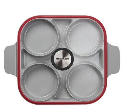【NEOFLAM】Steam Plus Pan 升級版 烹飪神器 & 玻璃蓋 ( 蒸+煎+炒+烤多功能 ) 煎鍋 四格鍋