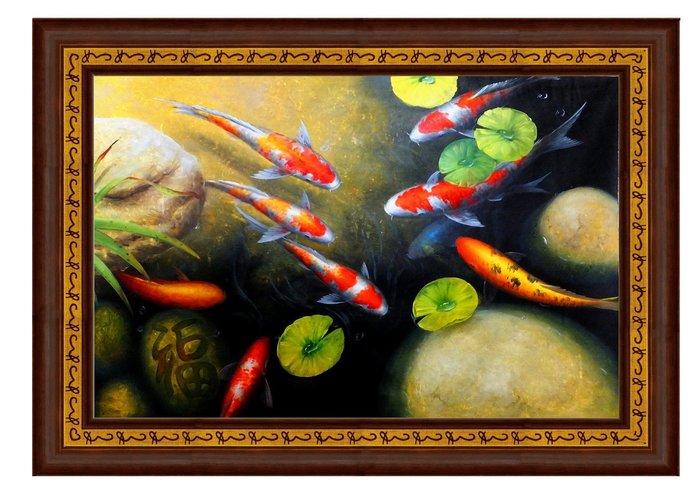 {藝術之都}手繪創作油畫:鯉入福居  已完成作品實品拍攝  台灣畫家執筆NI chung hsin