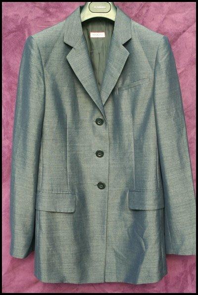 【Max &Co】100%鐵灰藍單排三扣蓋袋中長版大衣