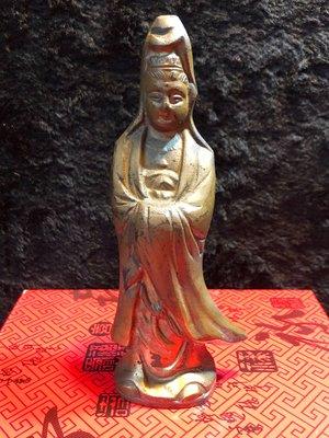 『華山堂』日據時代 古董文物 早期收藏 老銅件 實心 日式觀音 觀世音菩薩 落款 大明宣德 老件銅器