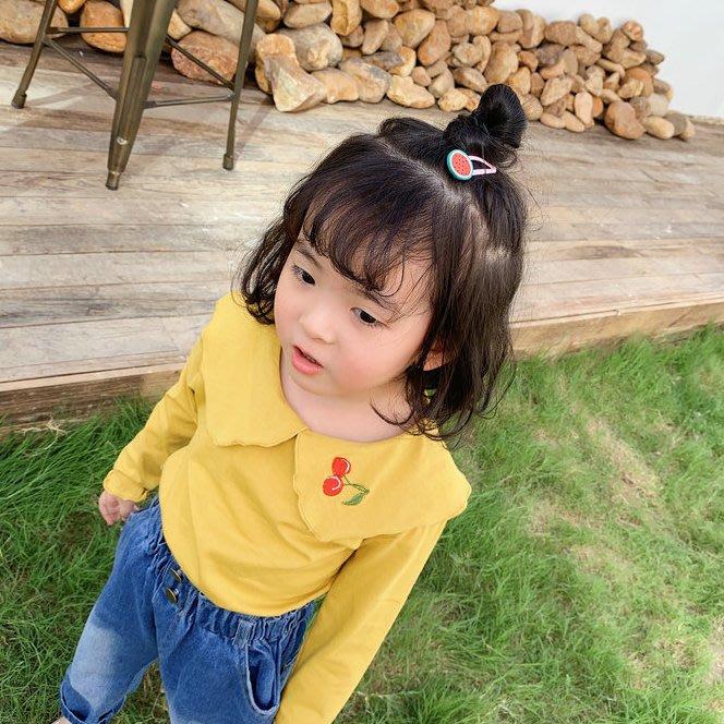 *蜜寶貝*1589038女童T恤-刺繡櫻桃打底衫上衣長袖襯T 秋裝童裝 尺寸90-130CM-0021