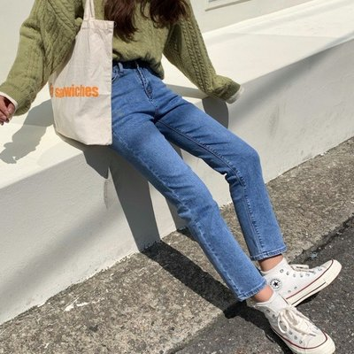 Imzzy韓國女裝舘PPSHD20韓國chic復古做舊水洗敲好搭高腰顯瘦直筒九分牛仔褲女