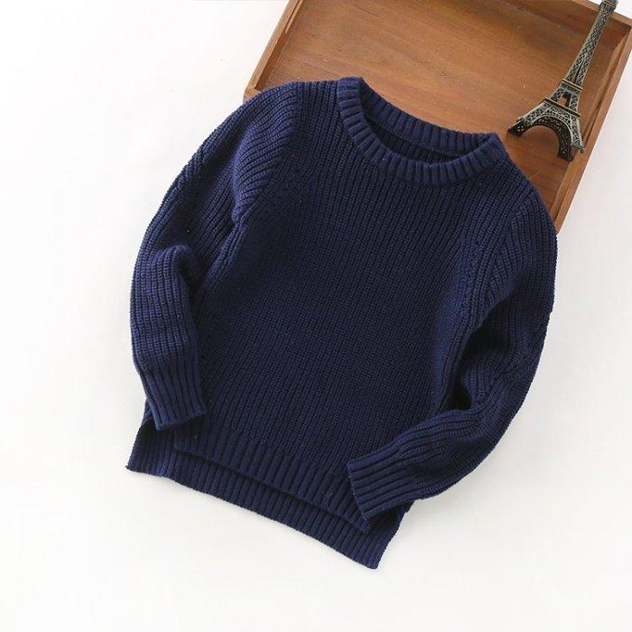 Gigi歐尼 ❤毛衣5色❤ 新款 男童90~150cm 純色素面百搭長袖針織毛衣 保暖舒適套頭圓領毛衣