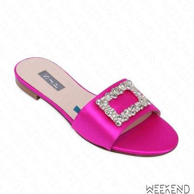【WEEKEND】 Sarah Jessica Parker SJP Grace 緞面 鑲鑽 高跟鞋 桃紅色