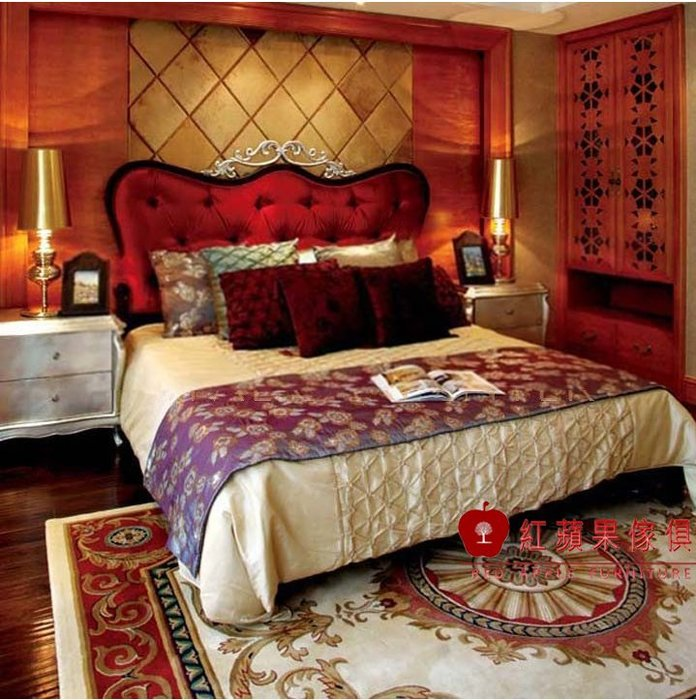 [紅蘋果傢俱] WJ 大師原創瑪莉蓮系列 歐式家具 法式雙人床 5尺 6尺 床台 雕花 床架 現貨