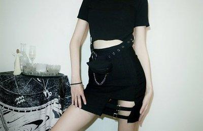 【黑店】個性暗黑系包臀短裙 鏤空顯瘦包臀高腰短裙 暗黑系短裙 個性短裙 百搭黑色短裙MB234