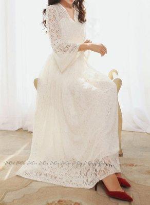 §§§ aMOre §§§ 浪漫復古波希米亞全蕾絲喇叭袖高腰連身長洋裝~超值  飄逸大推