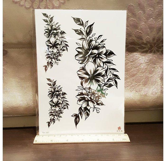 【萌古屋】胸背線條花朵TH-387 - 男女防水紋身貼紙刺青貼紙