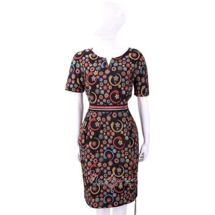 米蘭廣場 CLASS roberto cavalli V金屬多彩刺繡黑色泰絲洋裝 1810215-94 44號