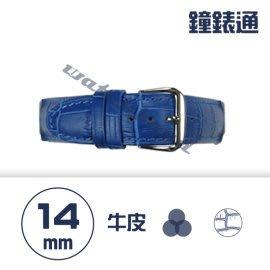 【鐘錶通】C1.06KW《繽紛系列》鱷魚壓紋-14mm 寶藍┝手錶錶帶/高質感/牛皮錶帶┥