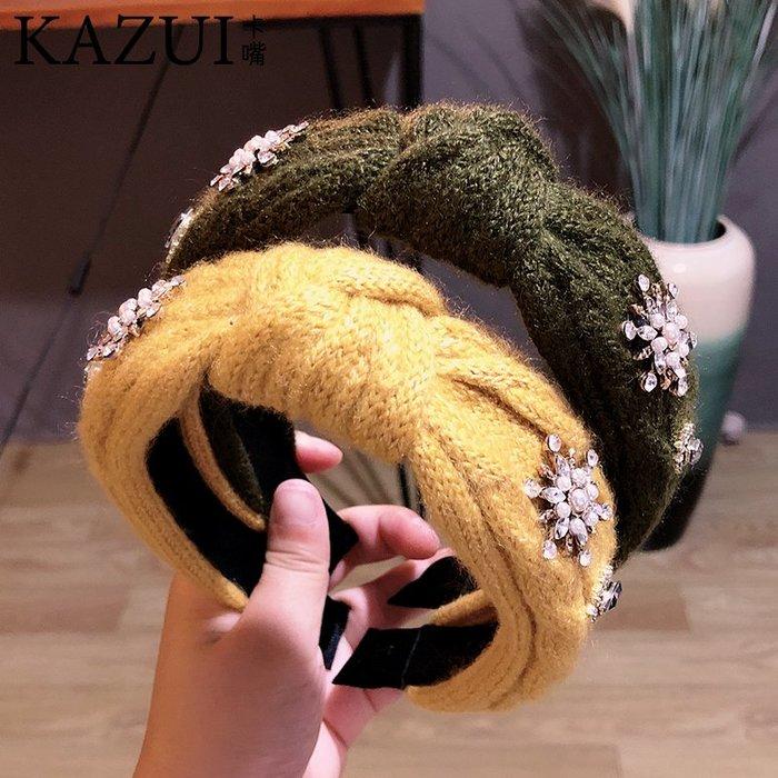 秋冬季新款針織毛線純色打結發箍韓國簡約太陽水鉆寬邊壓發頭箍女