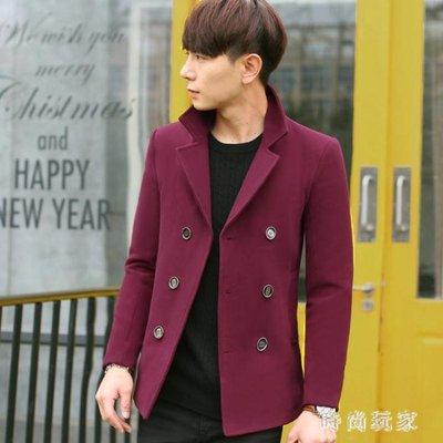 大尺碼毛呢大衣 毛呢外套風衣短款韓版修身新款青年英倫潮流呢子大衣男OB645