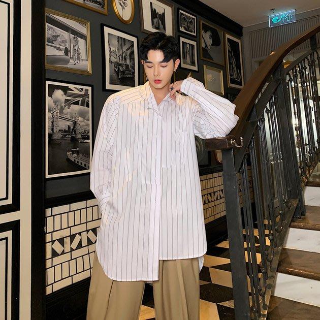 FINDSENSE 2019 秋季上新 G19 不對稱復古條紋時尚潮流長袖襯衫素面襯衫 男裝 上衣