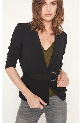 全新法國品牌 - ba&sh 黑色銀釦環腰帶合身版西裝外套 Glimmer kiiTO XS