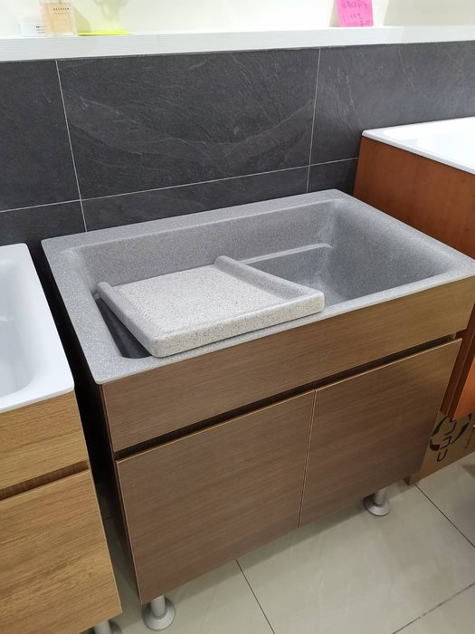 W60 W80 二種尺寸 五種顏色  有展示  亞特蘭大人造石洗衣枱 浴櫃組 陽洗台 洗衣槽