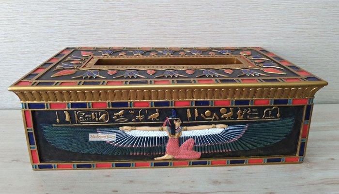 點點蘑菇屋 歐洲精品彩繪埃及雙翅人圖案面紙盒一 面紙套 紙巾盒 抽取式衛生紙盒 古埃及古文 圖騰 藝術家飾 現貨 免運費