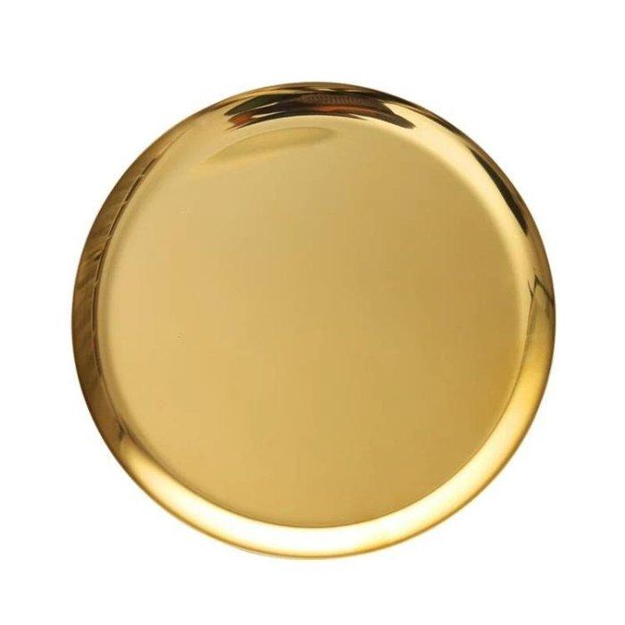 『哲原雜貨』黃銅金色圓形金屬大托盤 置物收納盤水果盤茶盤擺件/CK21999