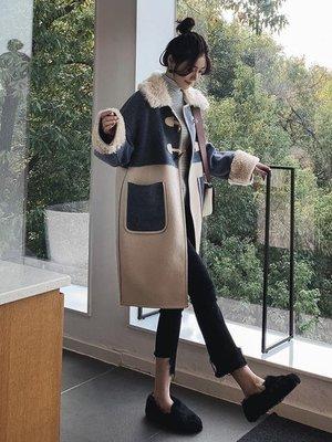 牛角扣毛外套女2018流行秋冬中長款寬鬆繭型仿羊毛領雙面大衣