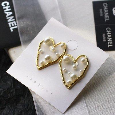 千禧禧居~丞琳求婚同款耳環女網紅2019新款潮韓國氣質透明樹脂珍珠愛心耳墜