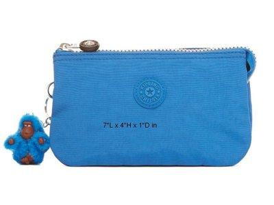 [美國精品屋] 比利時品牌 KipLing 藍色零錢包/萬用包 (附小猩猩鑰匙圈)