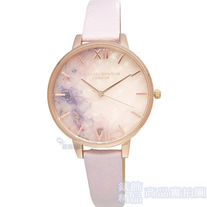 OLIVIA BURTON 手錶 OB16SP03 迷霧水彩花卉 半寶石玫瑰石英大錶盤 粉紫 皮帶女錶38mm【錶飾精品